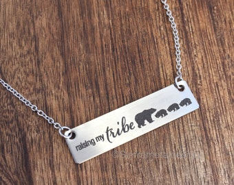 Raising My Tribe Necklace Bears Gifts for Mom Tribe Gifts For Wife Gift Jewelry Wife Mother's Day Birthday Tribe Jewelry Raising My Tribe