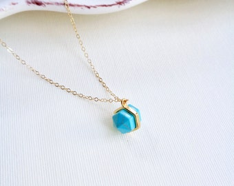 Geometric Cut Turquoise Necklace In Gold, Geometric Cut Stone Necklace, Blue Stone Necklace, Minimalist Jewelry, Gift For Her, Modern