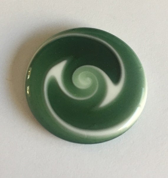 Flat Glass Cabochon - Green/White Swirls Handmade by Greg Hanson