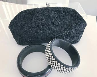 Vintage Black Seed Beaded Clutch Bag from the 50's -- Made in Japan