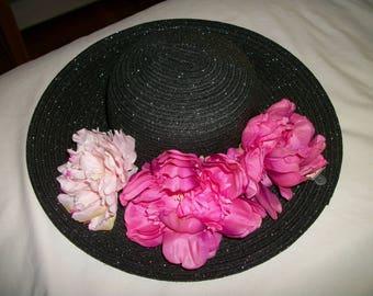 Straw hat black/ silver w  Flowers Easter Derby  Garden PArty