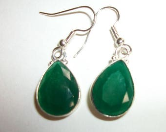 Genuine Green Emerald   in Sterling Silver Dangle Teardrop  Earrings   Prom Wedding