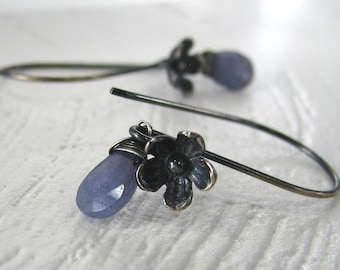Tanzanite Earrings, Sterling Silver Earrings, Lavendar Tanzanite Earrings, Gemstone Earrings, Long Dangle Earrings - Midnight Blooms