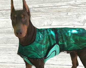 Luxury Dog Cool Coat with beaded border and tummy panel made custom just for your dog