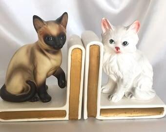 Vintage Pair Lefton Japan Cat Bookends//Siamese//Persian