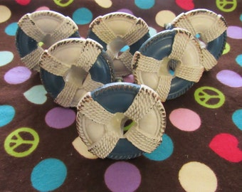 Set of 6 Cast Iron Life Preserver Drawer Pulls/Knobs-White and Blue