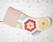 Beautiful Grandmother's Flower Garden Vintage Quilt Heirloom Christmas Stocking with Vintage-StyleTicking Cuff