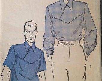 Vintage 40s 50s Mens Gaucho Shirt Pattern medium 38-40 chest 15- 15 1/2 neck Pullover Yoke 2 tone perfect for rayon gabardine! Rockabilly