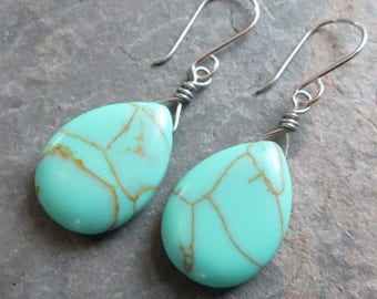 Turquoise Earrings - Turquoise Magnesite & Silver - Boho/Yoga/Chakra Jewelry