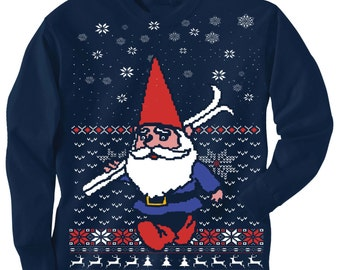TODDLER Christmas sweater Tee -- GNOME with SKIS - Santa's Elf Helper long sleeve t shirt - kids toddler youth sizes