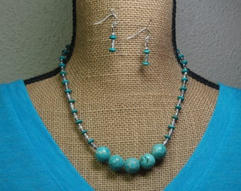 Natural Blue Turquoise Gemstones, 925 Hand Stamped Silver Necklace and Earrings