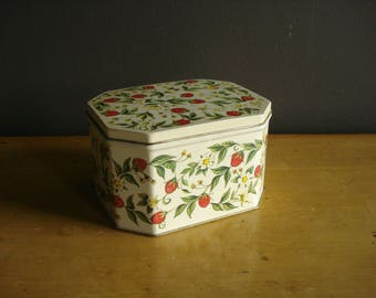 Strawberries All Over - Vintage Tea or Candy Tin - Metal Box with Lid