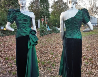 Sale 30% OFF 80s Prom Dress, Vintage Bridesmaid Dress, 80s Dress, 80s Wedding in Emerald Green by Frankie Welch Size 6