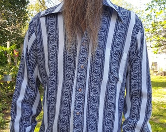 Mens 70s Shirt in Navy and White Print, Vintage Shirt, 70s Costume Size L