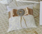 Custom made Wedding Ring Bearer Pillow Ivory Champagne Lace