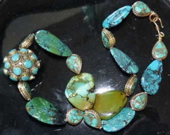 Stunning Natural Chinese Hubei Turquoise Necklace, huge beads, OOAK , Beadart-Austria Design
