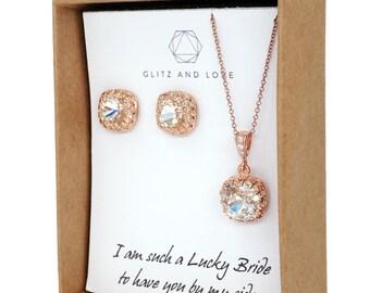Emma - Rose Gold Clear Swarovski Crystal Rose Gold Ear Studs, Wedding Bridesmaid Earrings Jewelry, Swarovski Studs Square Cushion 10mm