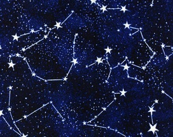 Timeless Treasures - Glow in the Dark Constellations - Midnight - Fabric by the Yard CG2750-MIDN