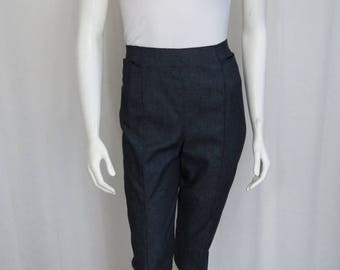 Thierry Mugler Designer high waisted Dark wash cotton Pedal Pushers size S-M