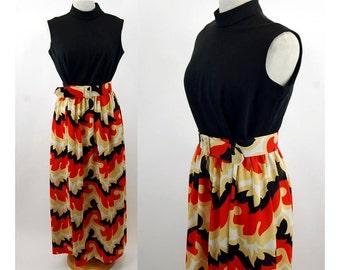1960s maxi dress hostess dress mod graphic op art red black polyester sleeveless dress Size L