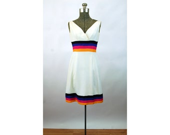 1960s dress linen striped surplice bodice panel waist Jay's San Antonio Size S