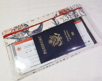 10X6 Travel Document Wallet,Long Travel Wallet, Passport Wallet, Travel Itinerary Holder,Womens Zipper Wallet-Canvas Postage Fabric