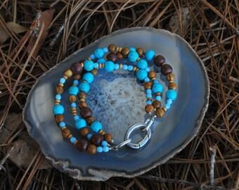 Multi strand mixed gemstone & wood bracelet, 8 inches