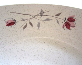 "Franciscan DUET ROSE 8 3/8"" OVAL Vegetable Bowl Roses on Speckled White Modern Americana"