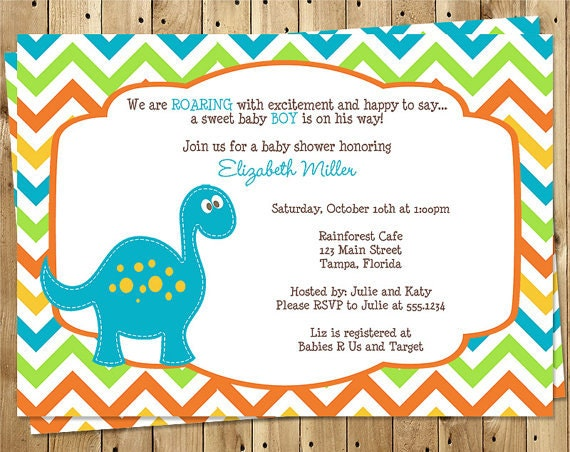 dinosaur baby shower invitation chevron stripes blue  etsy, Baby shower