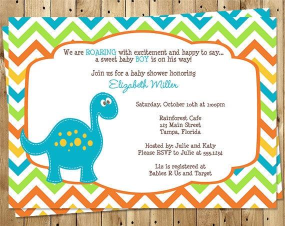 dinosaur baby shower invitation chevron stripes blue  etsy, Baby shower