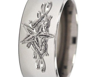 New 9 mm Nautical Star milled Titanium Ring: 9F-NAUTICAL