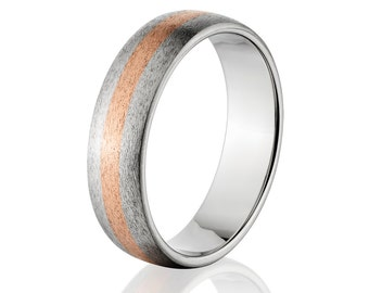 Copper Ring Titanium Wedding Ring Copper Inlay Ring Titanium Wedding Band Titanium Wedding Ring Copper Jewelry Wedding Ring : 6HR12G-COPPER