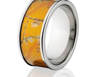 new 10mm titanium licensed realtree orange camo ring camo wedding bands orange realtree titanium wedding rings - Orange Camo Wedding Rings