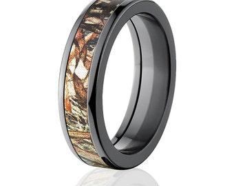 New Black Zirconium 5mm Duckblind Licensed Mossy Oak Camo Ring Camo Wedding Ring Black Zirconium Wedding Band : BZ-5F-DUCKBLIND