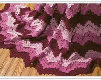 Crochet Afghan Pattern - Rose Ripple Afghan - Size 63 x 72 inches - Pattern 05330216