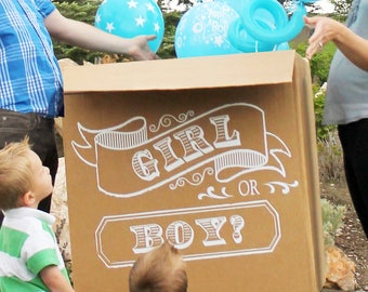 Gender Reveal Party Balloon Box Chalkboard Art- Vinyl Decal Decor