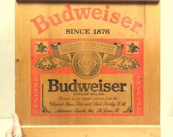 Vintage 60s/70s Wood Budweiser Shelf