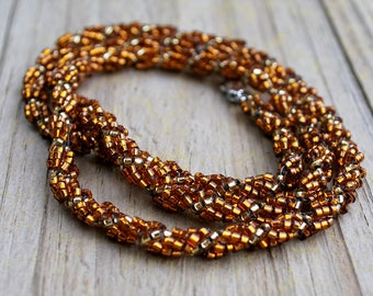 Copper and Gold Necklace Seed Bead Spiral Ready to Ship 7th Seventh Wedding Anniversary Gift Wife