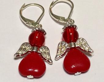 Red Angel Fairy Earrings - Czech Glass Beads Silver Plated Wings