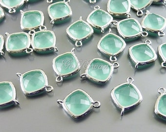 2 turquoise mint jewelry links with crystal glass beads - great for dangle earrings and mint green necklace 5063R-MT