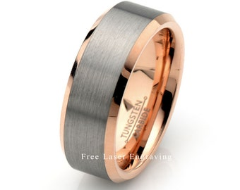 Rose Gold Tungsten Wedding Band Brushed 8mm Mens Tungsten Ring Tungsten Carbide his Rings Custom Engraved Bands Mens Wedding Band