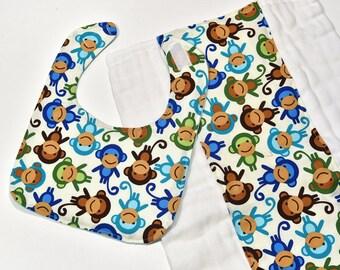 Cute Baby Bib Burp Cloth Diaper Set Baby Easter Gift Monkeys Burp Rag Baby Boy Bib, Baby Accessories, Baby Items