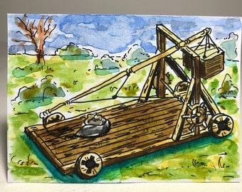 Trebuchet, original pen and watercolour painting on Artist Trading Card (ATC)