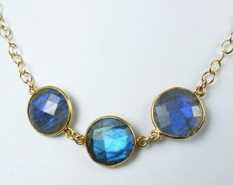 Faceted Labradorite Necklace, Blue Labradorite Jewelry, Bezel Set, Natural Flash Labradorite Jewelry, Gold Bezels, Adjustable Length