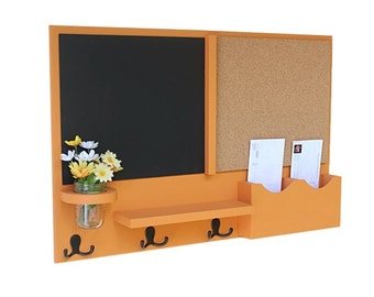 Mail Organizer -  Message Center - Chalk Board - Cork Board -  Coat Rack - Mason Jar - Coat Hooks