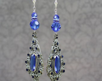 Vintage Upcycled 1920s to 1930s Pot Metal Bright Blue Crystal and Glass Beaded Earrings
