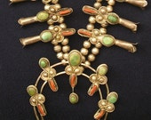 Reserved for TurquoiseForMe, please do not purchase:) -- Navajo Sterling Silver Turquoise Coral Squash Blossom Necklace