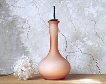 Antique Glass Barber Dresser Bottle - Victorian Pink Art Glass ca 1910s