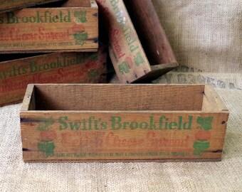 Wood CHEESE BOX 3lb Swift Brookfield Cheese Box - Primitive Wood Crate - Relish Cheese Box
