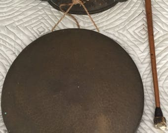 Victorian Large Brass Dinner Gong with Ornate Hanger and Striker All Original Nice great Patina